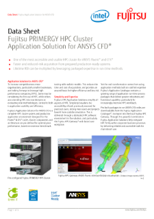 Fujitsu HPC Cluster Application Solution for ANSYS CFD* Data Sheet,Fujitsu Primergy HPC Cluster Application Solution for ANSYS CFD