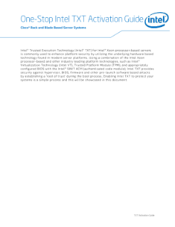 Cisco Servers* and Intel® Trusted Execution Technology (Intel® TXT) Activation Guide