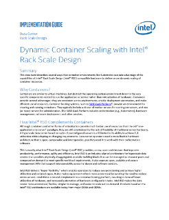 Dynamic Container Scaling with Intel® Rack Scale Design (Intel® RSD) Guide