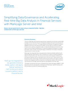 Big Data Solutions for Financial Services from MarkLogic and Intel